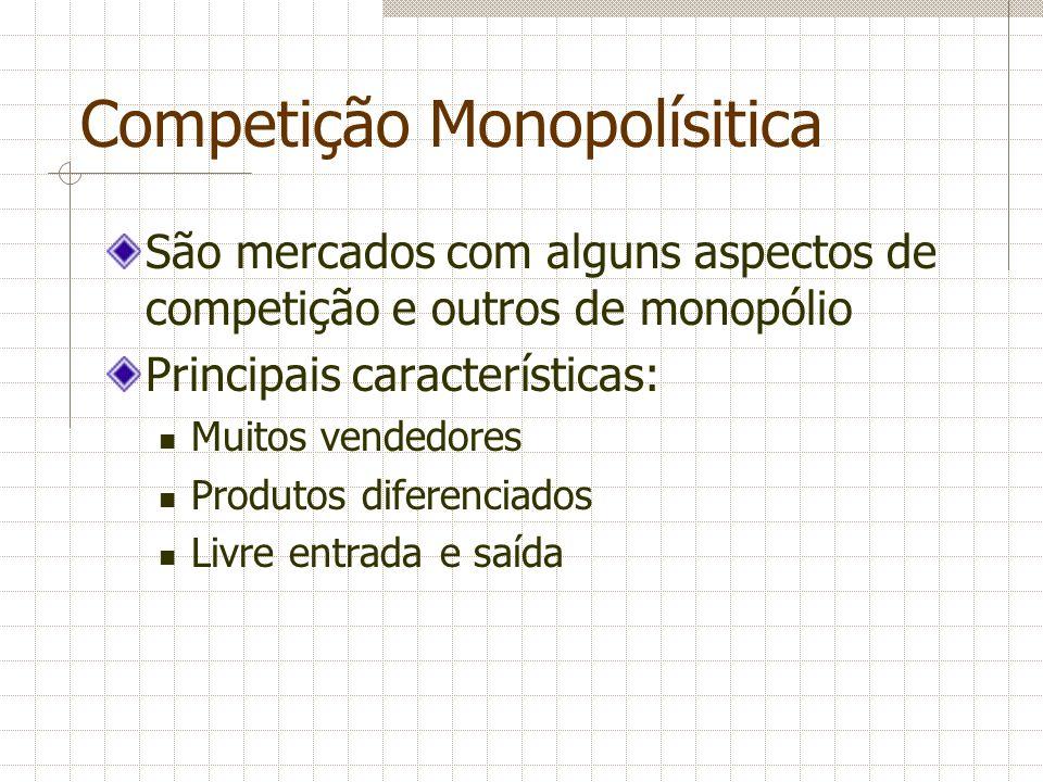 Competição Monopolísitica São mercados com alguns aspectos de competição e outros de monopólio Principais características: Muitos vendedores Produtos