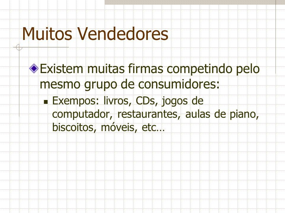 Muitos Vendedores Existem muitas firmas competindo pelo mesmo grupo de consumidores: Exempos: livros, CDs, jogos de computador, restaurantes, aulas de