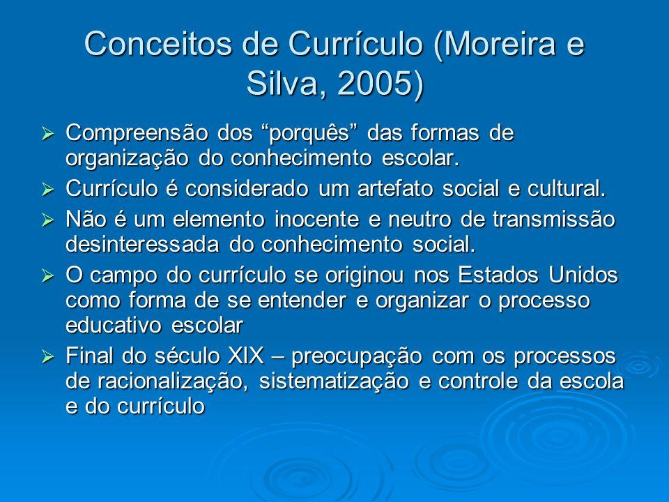 Conceitos de Currículo (Moreira e Silva, 2005) Compreensão dos porquês das formas de organização do conhecimento escolar. Compreensão dos porquês das
