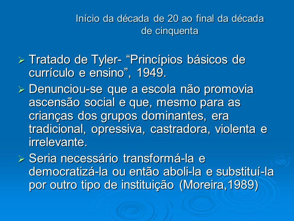 Início da década de 20 ao final da década de cinquenta Tratado de Tyler- Princípios básicos de currículo e ensino, 1949. Tratado de Tyler- Princípios