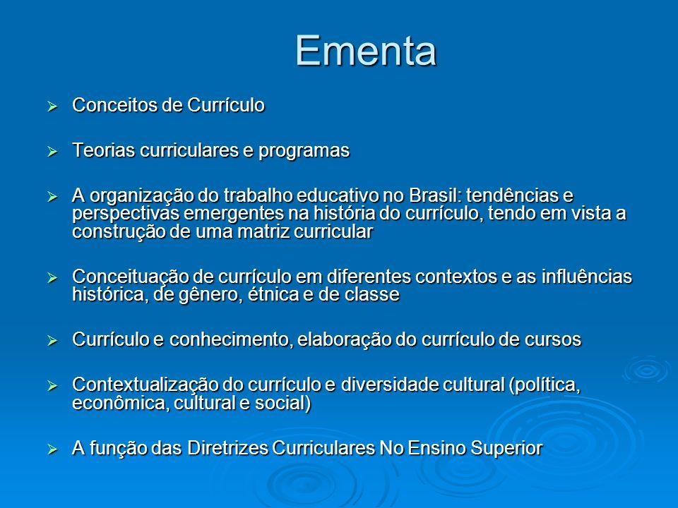 Ementa Conceitos de Currículo Conceitos de Currículo Teorias curriculares e programas Teorias curriculares e programas A organização do trabalho educa