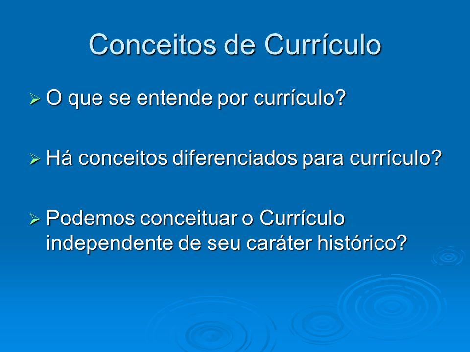 Conceitos de Currículo O que se entende por currículo? O que se entende por currículo? Há conceitos diferenciados para currículo? Há conceitos diferen