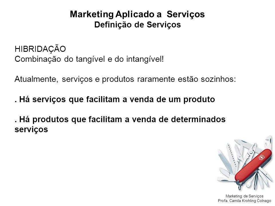 Marketing de Serviços Profa. Camila Krohling Colnago Marketing Aplicado a Serviços Definição de Serviços HIBRIDAÇÃO Combinação do tangível e do intang