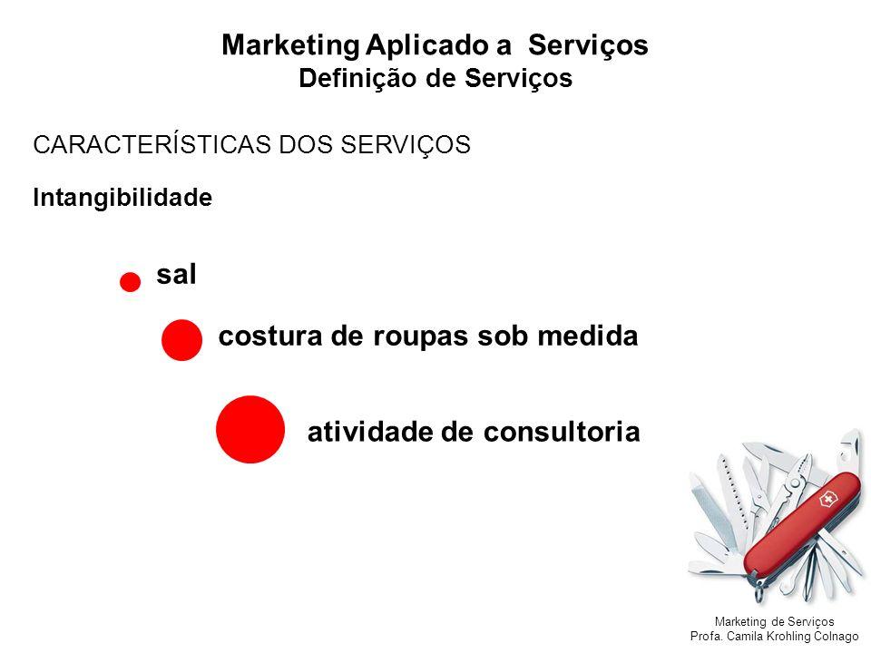 Marketing de Serviços Profa. Camila Krohling Colnago Marketing Aplicado a Serviços Definição de Serviços CARACTERÍSTICAS DOS SERVIÇOS Intangibilidade