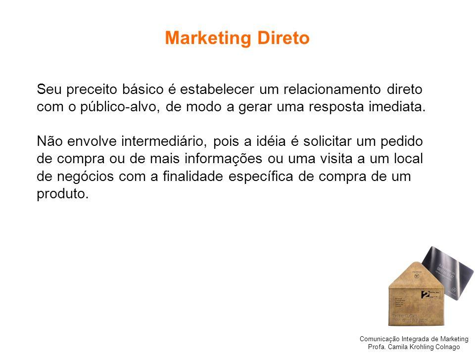 Comunicação Integrada de Marketing Profa. Camila Krohling Colnago Marketing Direto Seu preceito básico é estabelecer um relacionamento direto com o pú