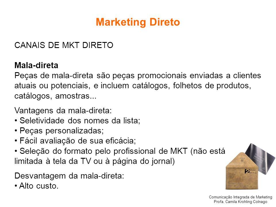 Comunicação Integrada de Marketing Profa. Camila Krohling Colnago Marketing Direto CANAIS DE MKT DIRETO Mala-direta Peças de mala-direta são peças pro