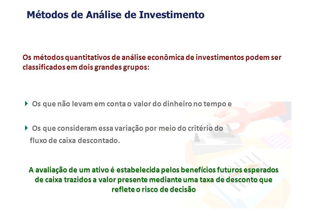 A avaliação de um ativo é estabelecida pelos benefícios futuros esperados de caixa trazidos a valor presente mediante uma taxa de desconto que reflete