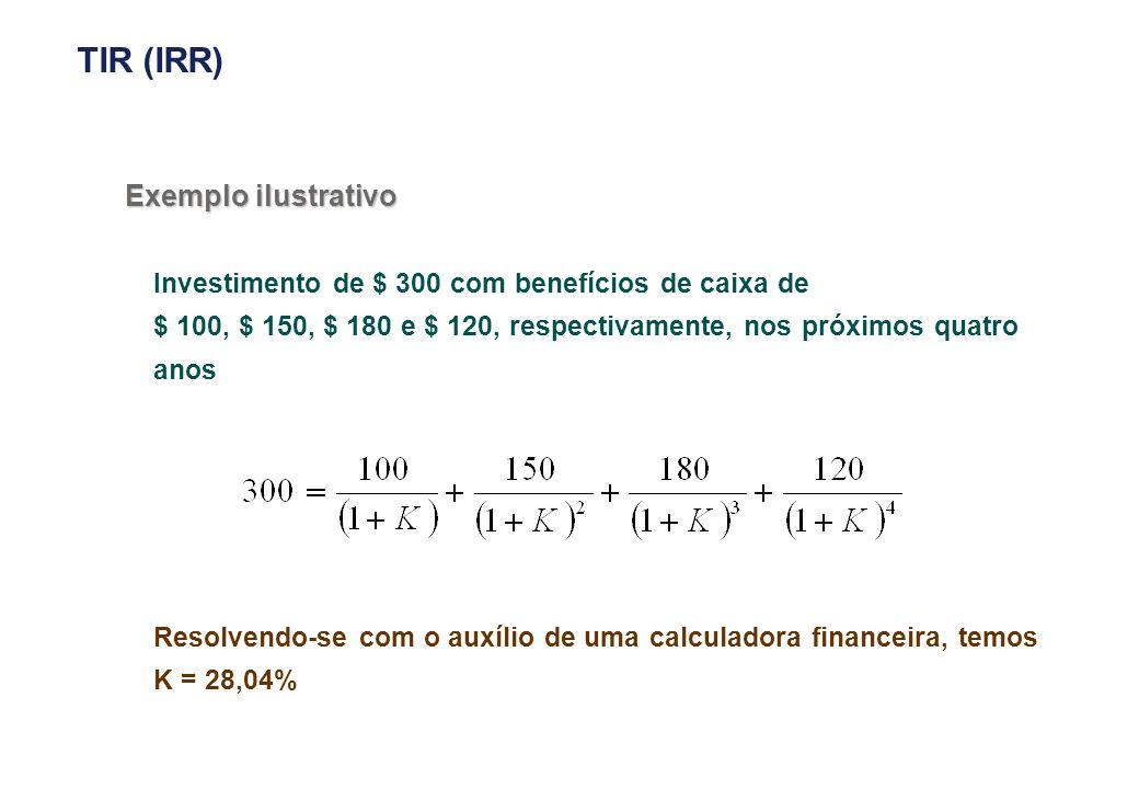 Exemplo ilustrativo Investimento de $ 300 com benefícios de caixa de $ 100, $ 150, $ 180 e $ 120, respectivamente, nos próximos quatro anos Resolvendo