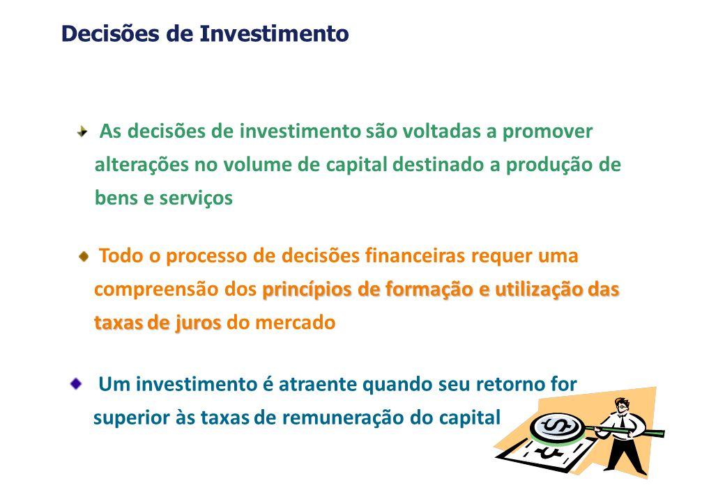 O processo de avaliação e seleção de alternativas de investimento envolve: a)Dimensionamento dos fluxos de caixa b)Avaliação dos fluxos de caixa c)Definição das taxas de retorno exigidas d)Introdução do risco Decisões de Investimento