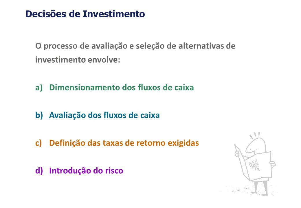 O processo de avaliação e seleção de alternativas de investimento envolve: a)Dimensionamento dos fluxos de caixa b)Avaliação dos fluxos de caixa c)Def