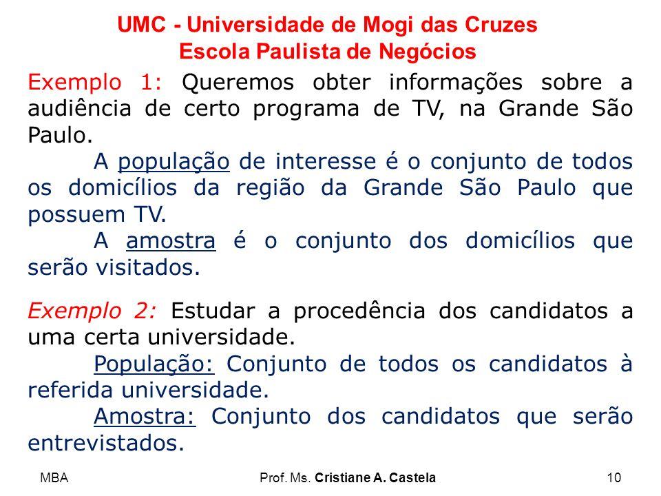MBAProf. Ms. Cristiane A. Castela10 UMC - Universidade de Mogi das Cruzes Escola Paulista de Negócios Exemplo 1: Queremos obter informações sobre a au