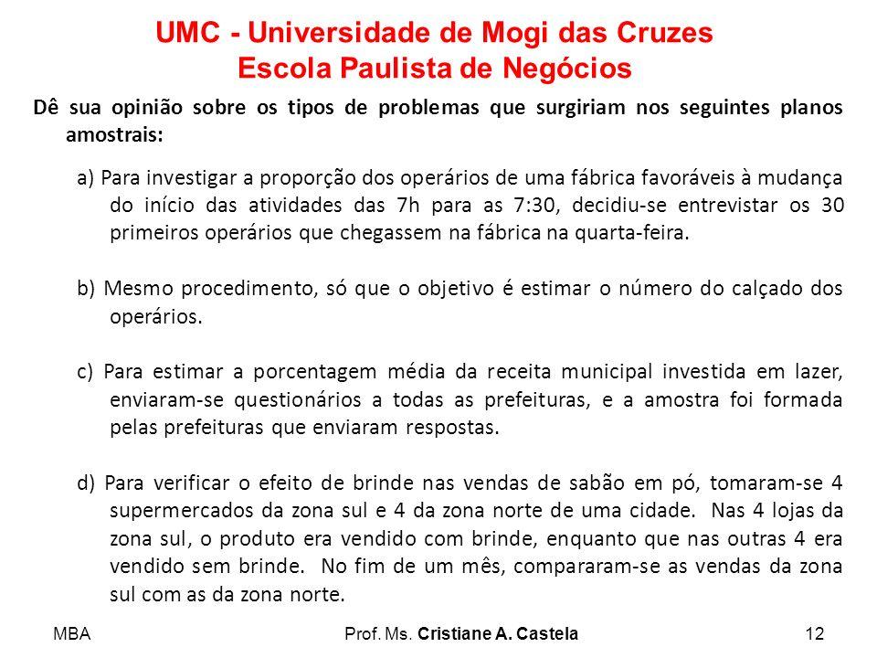 MBAProf. Ms. Cristiane A. Castela12 UMC - Universidade de Mogi das Cruzes Escola Paulista de Negócios Dê sua opinião sobre os tipos de problemas que s
