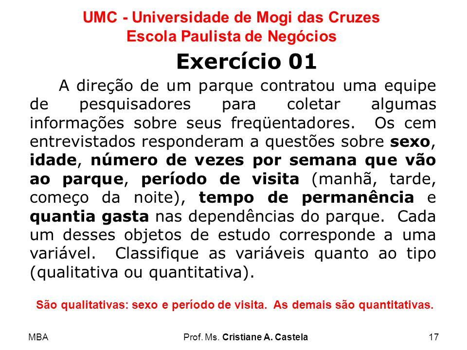 MBAProf. Ms. Cristiane A. Castela17 UMC - Universidade de Mogi das Cruzes Escola Paulista de Negócios A direção de um parque contratou uma equipe de p