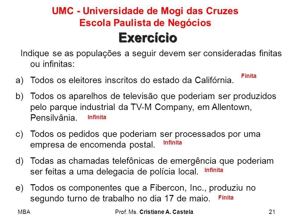 MBAProf. Ms. Cristiane A. Castela21 UMC - Universidade de Mogi das Cruzes Escola Paulista de Negócios Indique se as populações a seguir devem ser cons