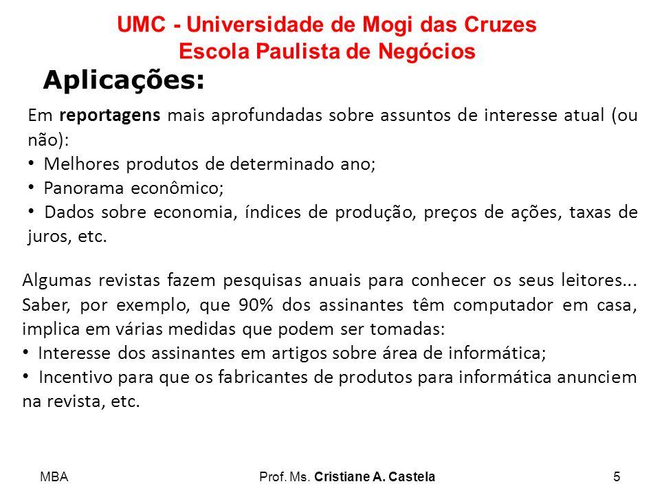 MBAProf. Ms. Cristiane A. Castela5 UMC - Universidade de Mogi das Cruzes Escola Paulista de Negócios Aplicações: Em reportagens mais aprofundadas sobr