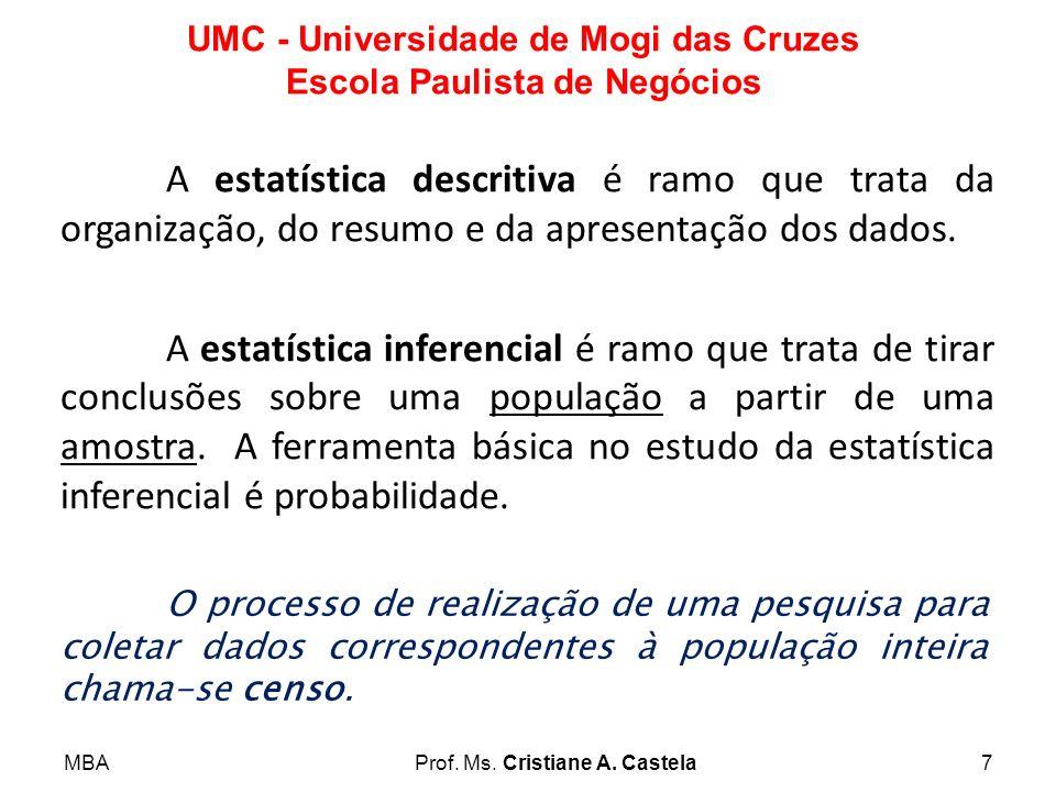 MBAProf. Ms. Cristiane A. Castela7 UMC - Universidade de Mogi das Cruzes Escola Paulista de Negócios A estatística descritiva é ramo que trata da orga