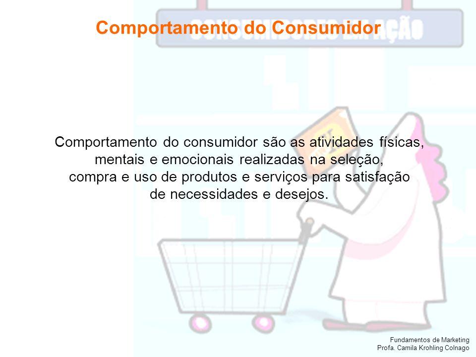 Fundamentos de Marketing Profa. Camila Krohling Colnago Comportamento do consumidor são as atividades físicas, mentais e emocionais realizadas na sele