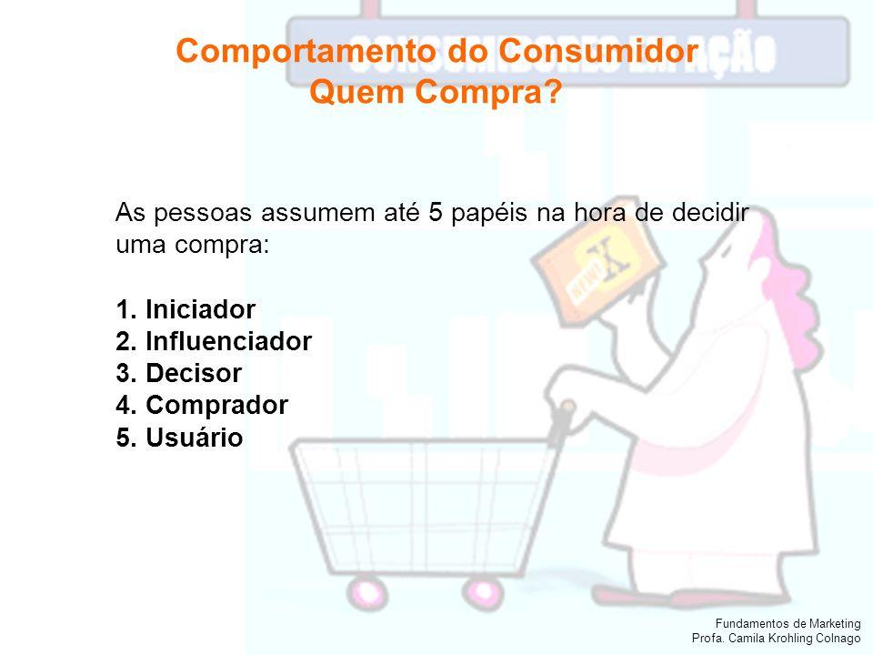 Fundamentos de Marketing Profa. Camila Krohling Colnago Comportamento do Consumidor Quem Compra? As pessoas assumem até 5 papéis na hora de decidir um