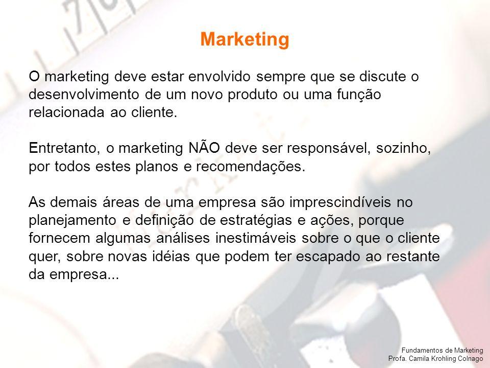 Fundamentos de Marketing Profa. Camila Krohling Colnago Fundamentos de Marketing Profa. Camila Krohling Colnago O marketing deve estar envolvido sempr