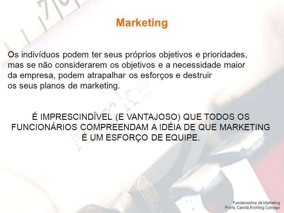 Fundamentos de Marketing Profa. Camila Krohling Colnago Os indivíduos podem ter seus próprios objetivos e prioridades, mas se não considerarem os obje