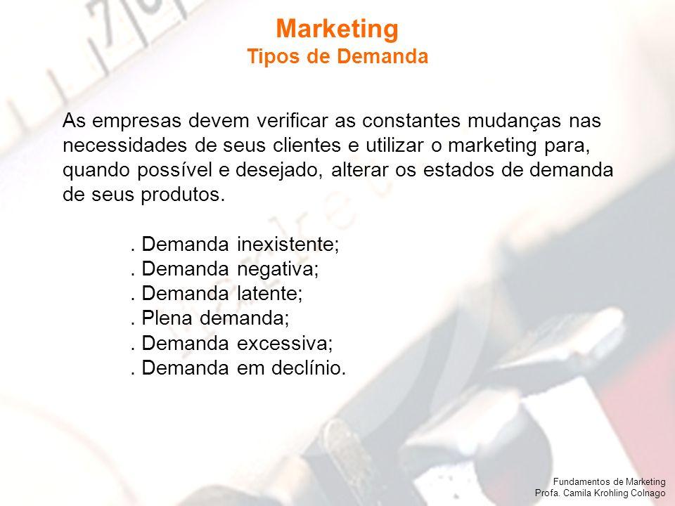 Fundamentos de Marketing Profa. Camila Krohling Colnago As empresas devem verificar as constantes mudanças nas necessidades de seus clientes e utiliza