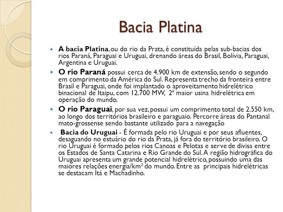 Bacia Platina A bacia Platina, ou do rio da Prata, é constituída pelas sub-bacias dos rios Paraná, Paraguai e Uruguai, drenando áreas do Brasil, Bolív