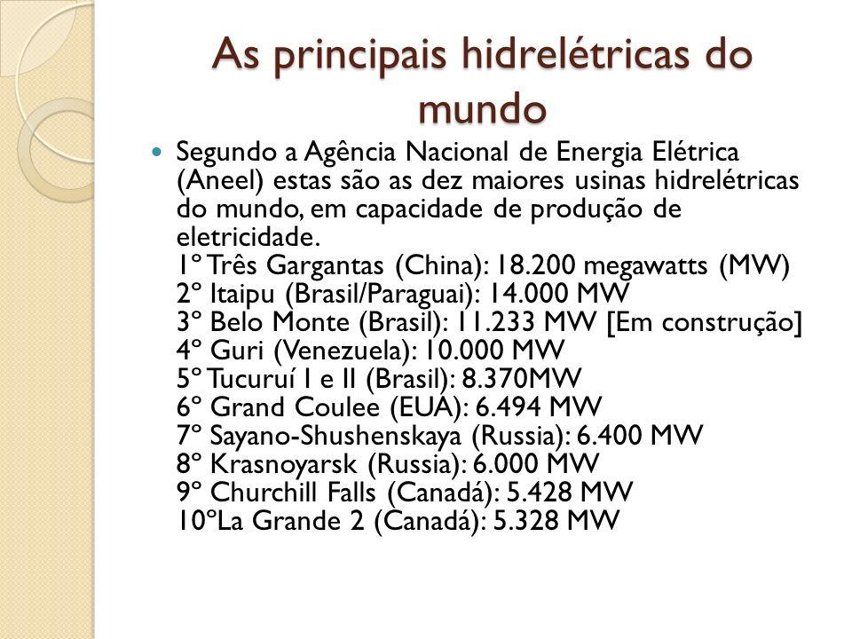 As principais hidrelétricas do mundo Segundo a Agência Nacional de Energia Elétrica (Aneel) estas são as dez maiores usinas hidrelétricas do mundo, em