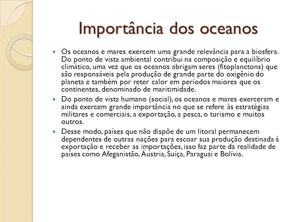 Importância dos oceanos Os oceanos e mares exercem uma grande relevância para a biosfera. Do ponto de vista ambiental contribui na composição e equilí