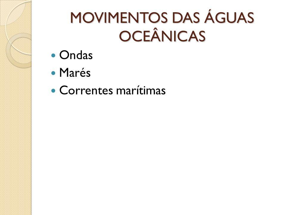 MOVIMENTOS DAS ÁGUAS OCEÂNICAS Ondas Marés Correntes marítimas