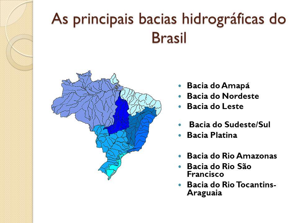 As principais bacias hidrográficas do Brasil Bacia do Amapá Bacia do Nordeste Bacia do Leste Bacia do Sudeste/Sul Bacia Platina Bacia do Rio Amazonas