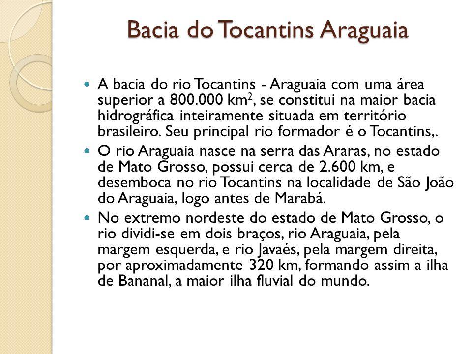 Bacia do Tocantins Araguaia A bacia do rio Tocantins - Araguaia com uma área superior a 800.000 km 2, se constitui na maior bacia hidrográfica inteira