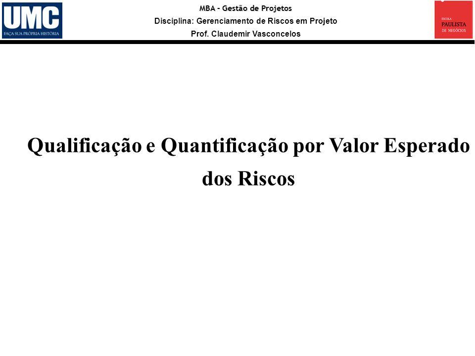 MBA – Gestão de Projetos Disciplina: Gerenciamento de Riscos em Projeto Prof. Claudemir Vasconcelos Qualificação e Quantificação por Valor Esperado do