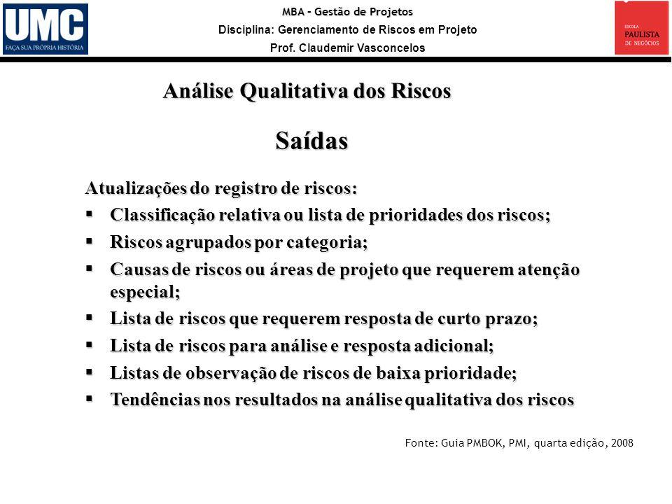 MBA – Gestão de Projetos Disciplina: Gerenciamento de Riscos em Projeto Prof. Claudemir Vasconcelos Saídas Atualizações do registro de riscos: Classif