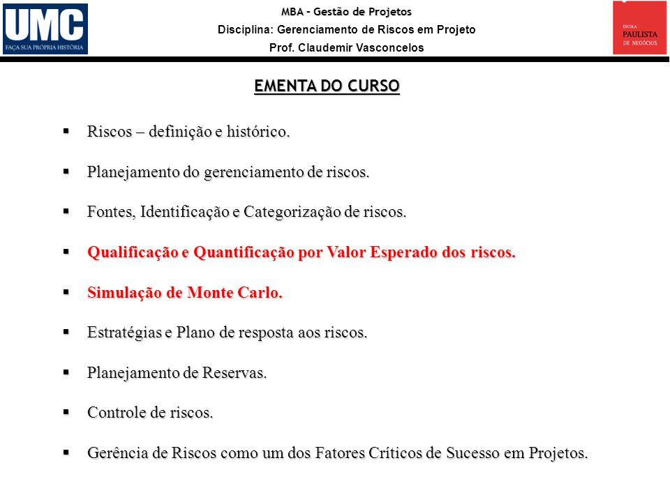 MBA – Gestão de Projetos Disciplina: Gerenciamento de Riscos em Projeto Prof. Claudemir Vasconcelos Riscos – definição e histórico. Riscos – definição