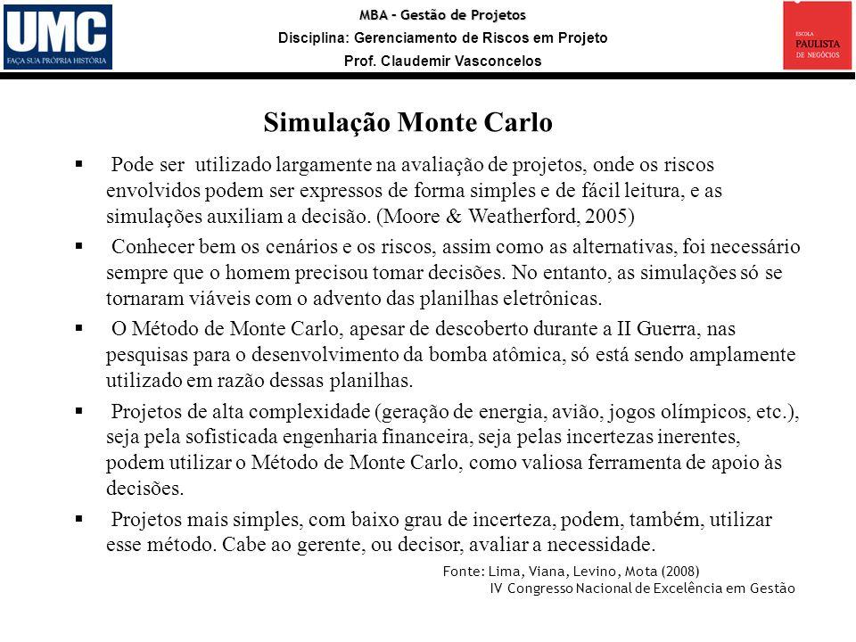 MBA – Gestão de Projetos Disciplina: Gerenciamento de Riscos em Projeto Prof. Claudemir Vasconcelos Simulação Monte Carlo Fonte: Lima, Viana, Levino,