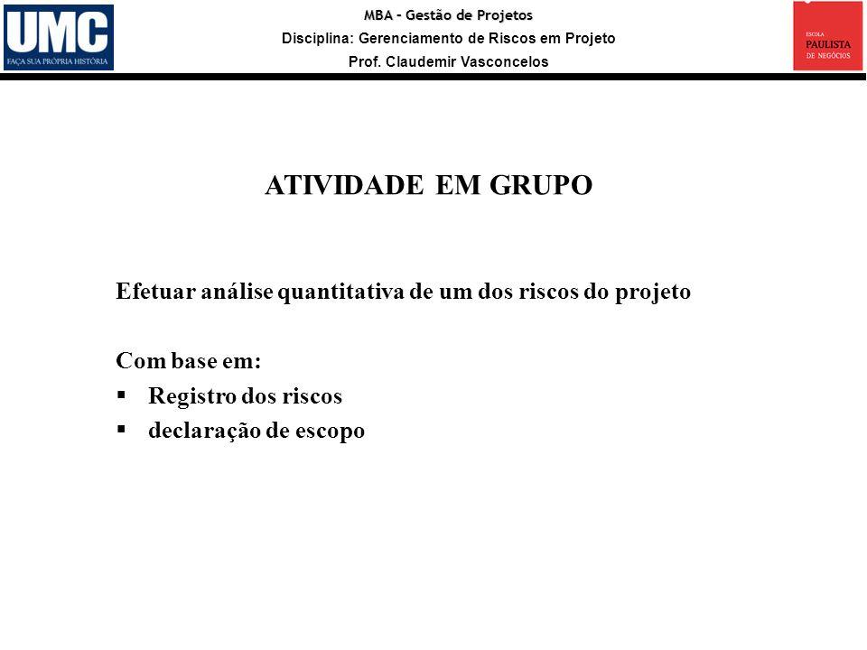 MBA – Gestão de Projetos Disciplina: Gerenciamento de Riscos em Projeto Prof. Claudemir Vasconcelos Efetuar análise quantitativa de um dos riscos do p