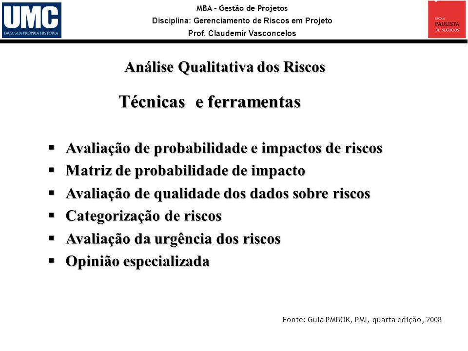 MBA – Gestão de Projetos Disciplina: Gerenciamento de Riscos em Projeto Prof. Claudemir Vasconcelos Avaliação de probabilidade e impactos de riscos Av