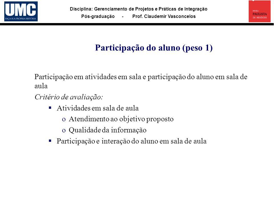 Disciplina: Gerenciamento de Projetos e Práticas de Integração Pós-graduação - Prof. Claudemir Vasconcelos Participação em atividades em sala e partic