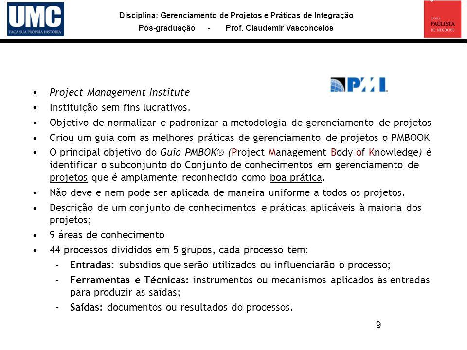 Disciplina: Gerenciamento de Projetos e Práticas de Integração Pós-graduação - Prof. Claudemir Vasconcelos 9 Project Management Institute Instituição