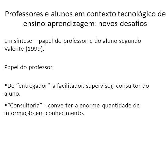 Em síntese – papel do professor e do aluno segundo Valente (1999): Papel do professor De entregador a facilitador, supervisor, consultor do aluno. Con