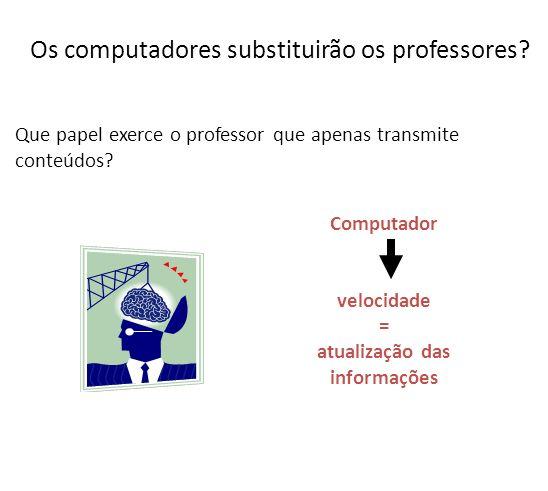 Os computadores substituirão os professores? Que papel exerce o professor que apenas transmite conteúdos? Computador velocidade = atualização das info