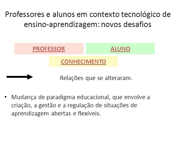 Professores e alunos em contexto tecnológico de ensino-aprendizagem: novos desafios Relações que se alteraram. Mudança de paradigma educacional, que e