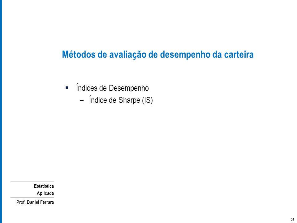 Estatística Aplicada Prof. Daniel Ferrara Métodos de avaliação de desempenho da carteira Índices de Desempenho –Índice de Sharpe (IS) 23