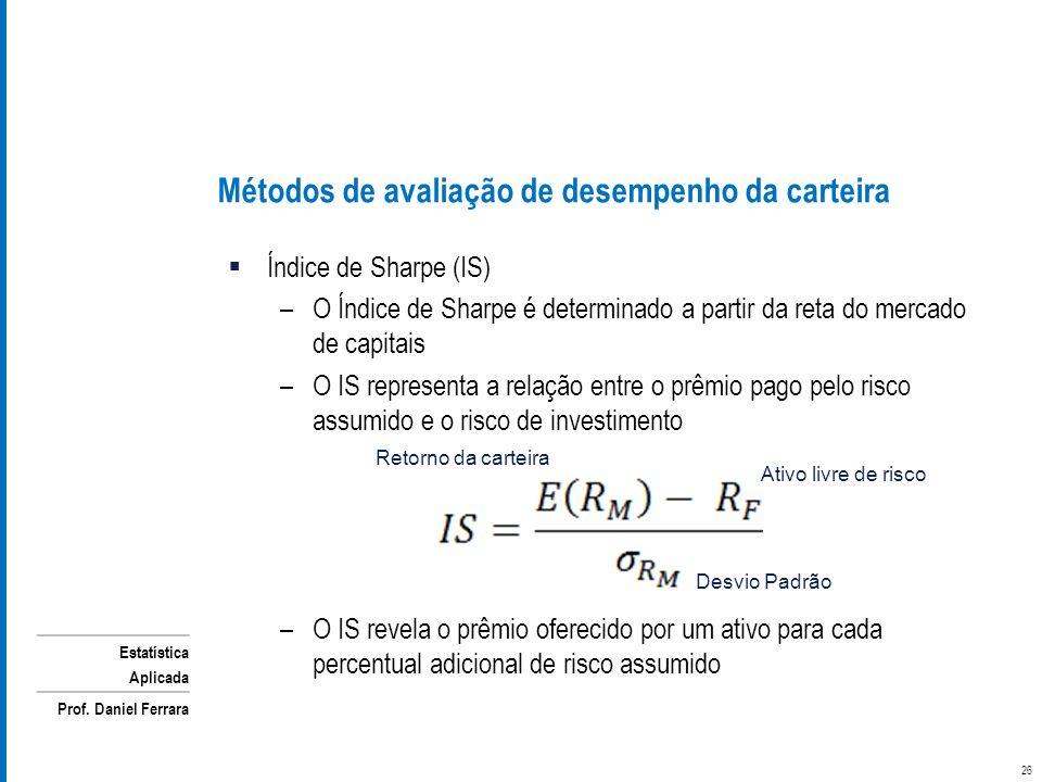 Estatística Aplicada Prof. Daniel Ferrara Métodos de avaliação de desempenho da carteira Índice de Sharpe (IS) –O Índice de Sharpe é determinado a par