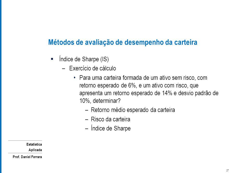 Estatística Aplicada Prof. Daniel Ferrara Métodos de avaliação de desempenho da carteira Índice de Sharpe (IS) –Exercício de cálculo Para uma carteira