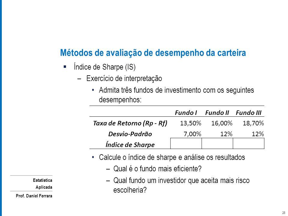 Estatística Aplicada Prof. Daniel Ferrara Métodos de avaliação de desempenho da carteira Índice de Sharpe (IS) –Exercício de interpretação Admita três
