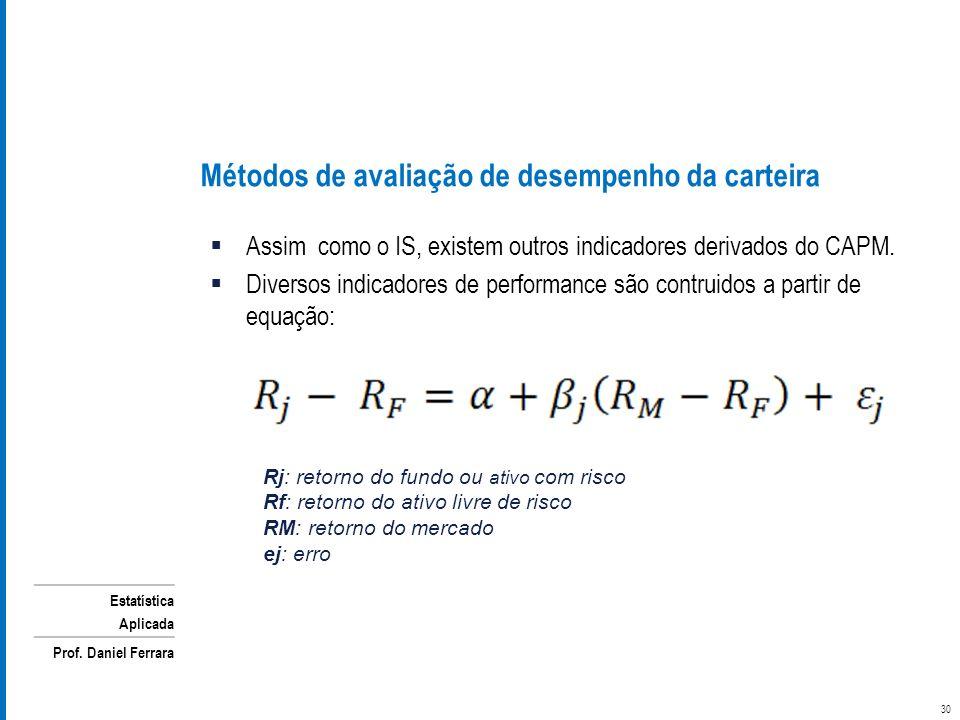 Estatística Aplicada Prof. Daniel Ferrara Métodos de avaliação de desempenho da carteira Assim como o IS, existem outros indicadores derivados do CAPM