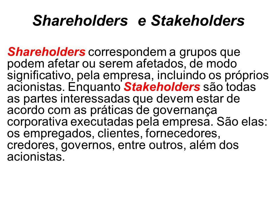 Shareholders e Stakeholders Shareholders correspondem a grupos que podem afetar ou serem afetados, de modo significativo, pela empresa, incluindo os próprios acionistas.