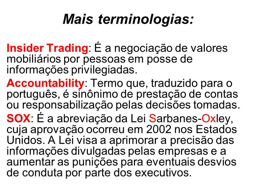 Mais terminologias: Insider Trading: É a negociação de valores mobiliários por pessoas em posse de informações privilegiadas. Accountability: Termo qu