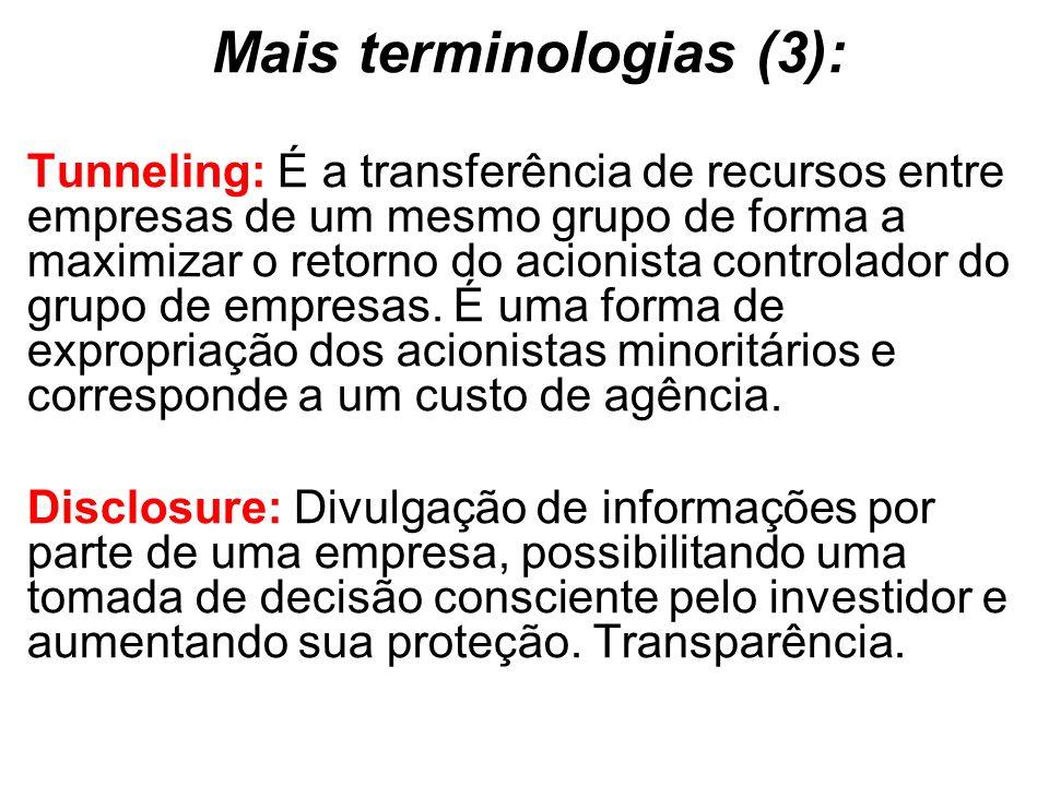 Mais terminologias (3): Tunneling: É a transferência de recursos entre empresas de um mesmo grupo de forma a maximizar o retorno do acionista controlador do grupo de empresas.